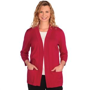 Open Cardigan Sweater, Ladies, Red