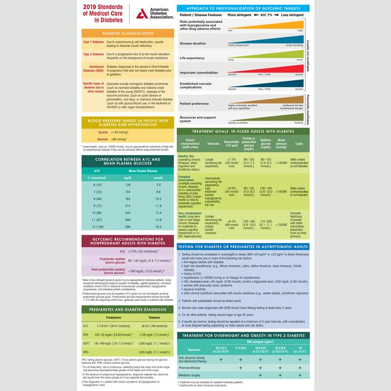 2019 Standards Of Medical Care In Diabetes Pocket Chart