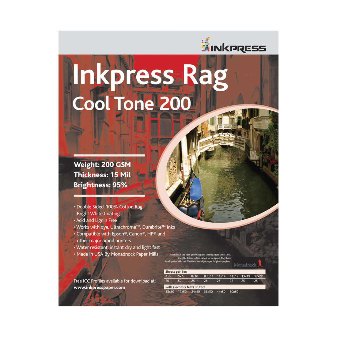 INKPRESS RAG COOLTONE 17X50 ROLL 200GSM
