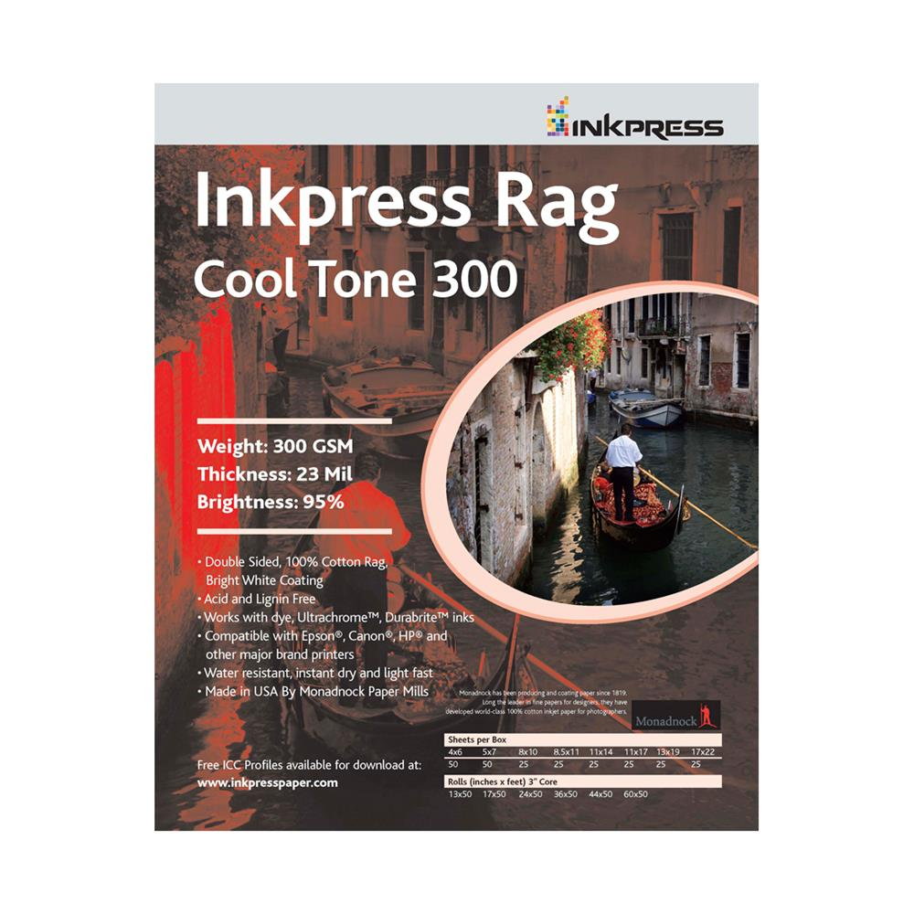 INKPRESS RAG COOLTONE 17X50' ROLL 300GSM