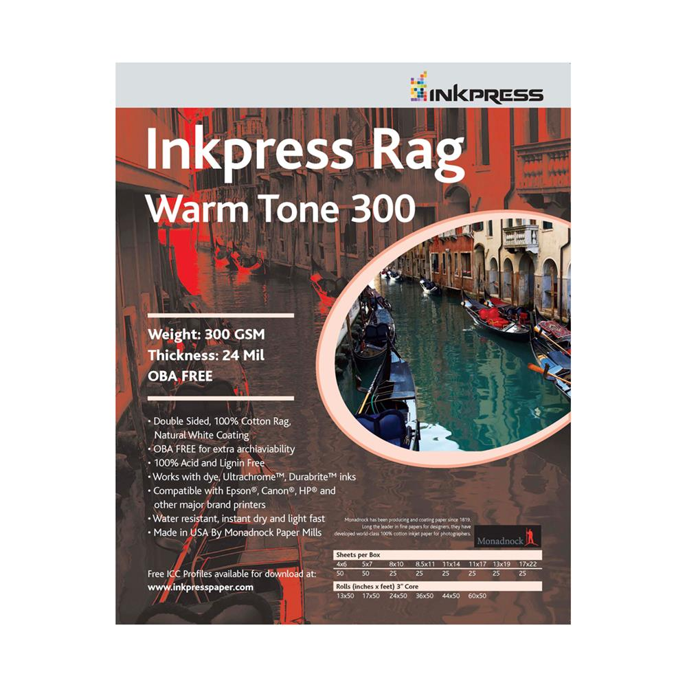 INKPRESS RAG WARMTONE 17X50' ROLL 300GSM