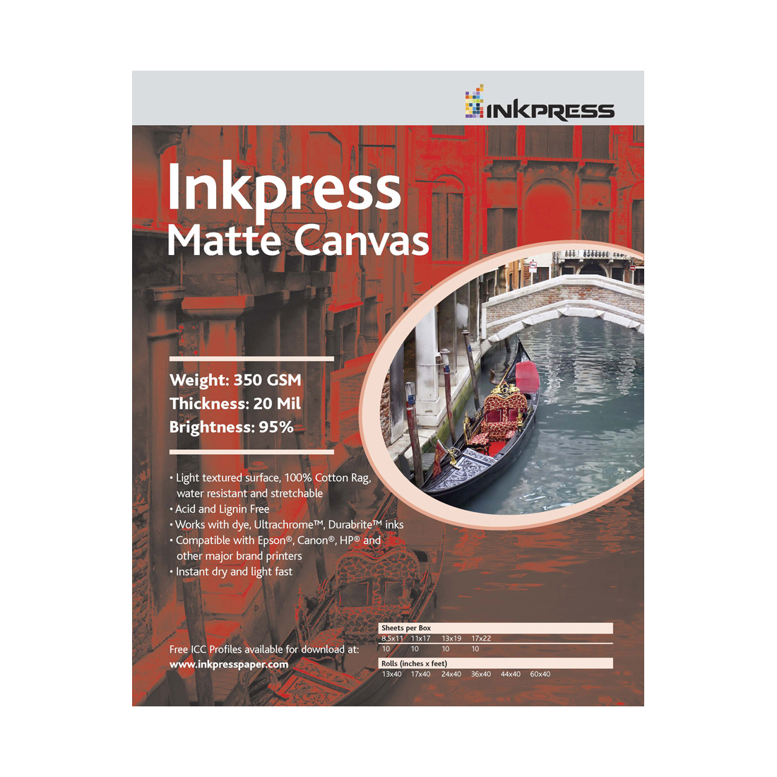 "INKPRESS MATTE CANVAS 13""X35' ROLL"