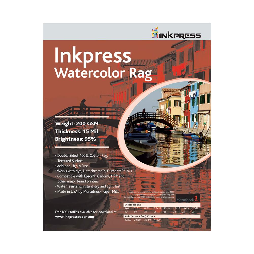 "INKPRESS WATERCOLOR RAG 44""X50' ROLL"
