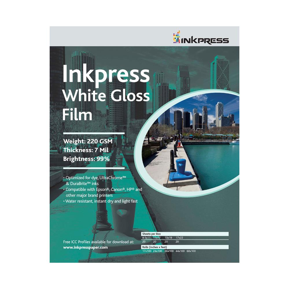 "INKPRESS WHITE GLOSS FILM 44""X50' ROLL"
