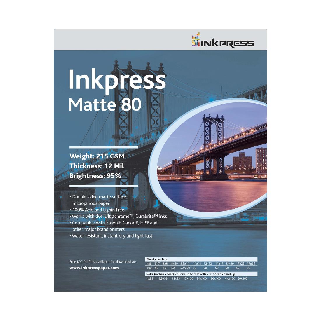 """INKPRESS DUO MATTE 80 8X10"""" 50SH"""