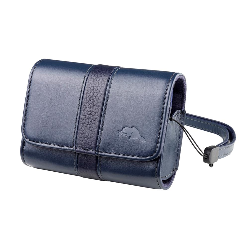 ROOTS VITTE LEATHER CAMERA POUCH BLUE