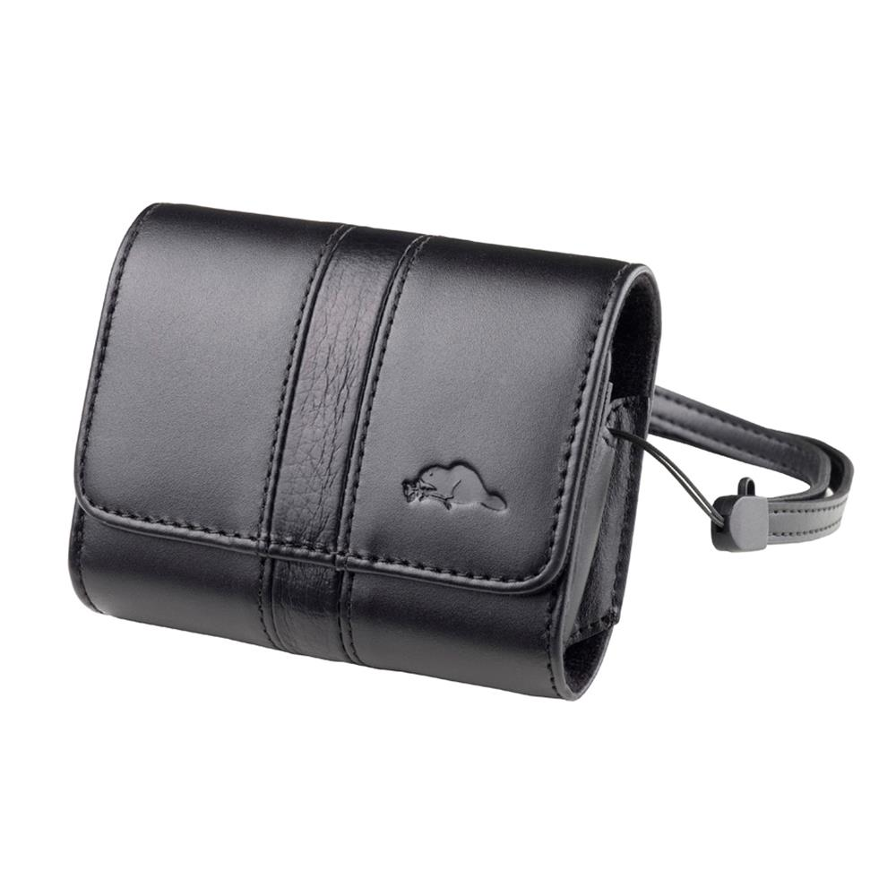 ROOTS VITTE LEATHER CAMERA POUCH BLACK