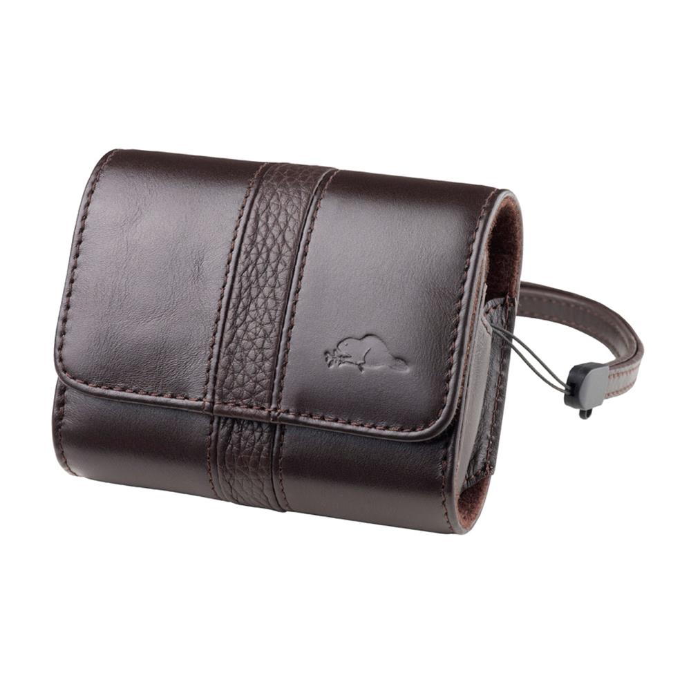 ROOTS VITTE LEATHER CAMERA POUCH BROWN