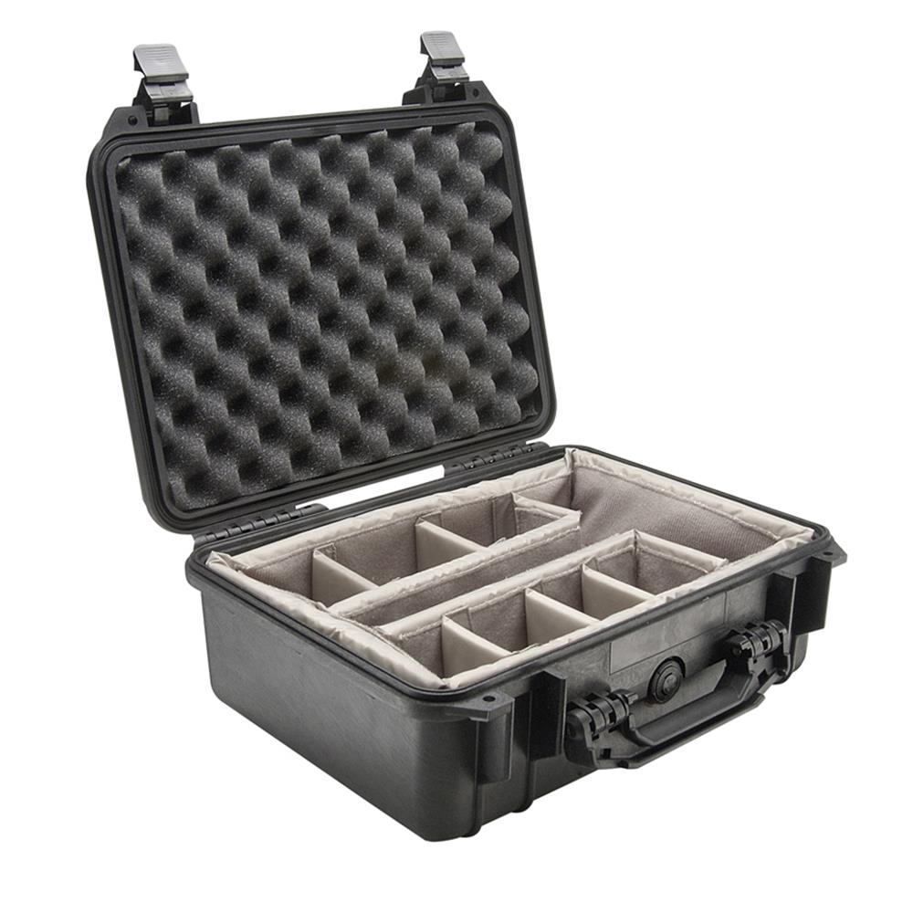 PELICAN 1450 CASE W/DIVIDERS, BLACK
