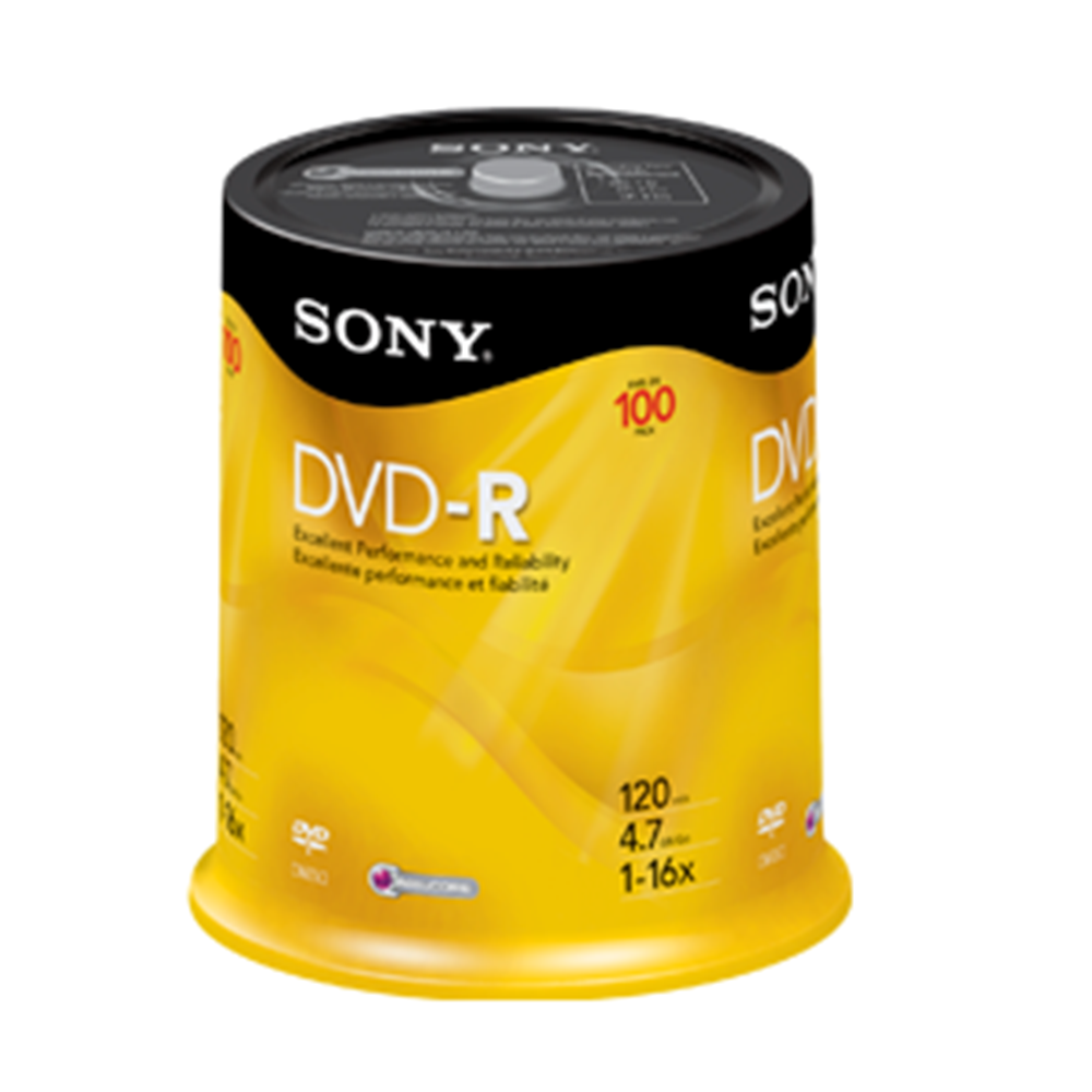 SONY 100DMR47RS4 100PK 16X DVD-R SPINDLE